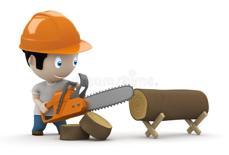 ¡Leñador en el trabajo! Caracteres sociales 3D stock de ilustración
