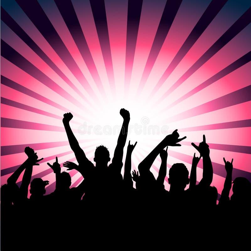 ¡Muchedumbre feliz del partido! ilustración del vector