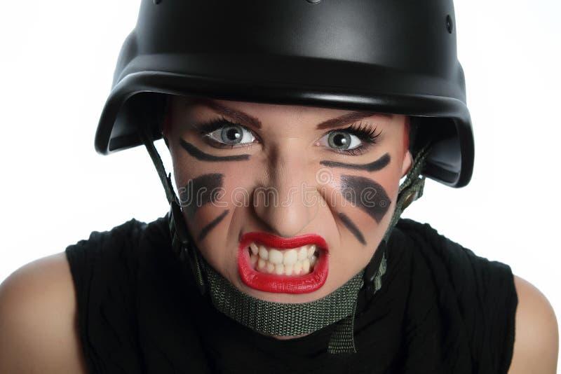 ¡Mujer policía joven en la acción! fotografía de archivo
