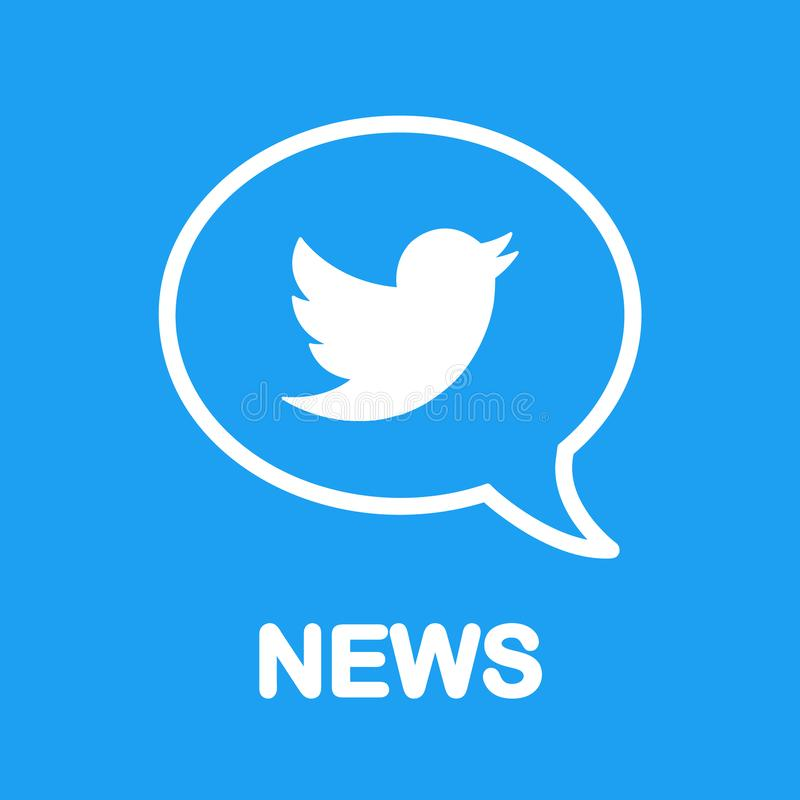 ¡Noticias en Twitter! Logotipo del pájaro en burbuja del discurso Diseño plano Media y establecimiento de una red sociales libre illustration