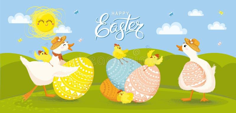 ¡Pascua feliz! Diversos huevos, pollo, mariposa, pato, ganso, sol, tulipanes, flores, cesta, tulipanes, pote imágenes de archivo libres de regalías