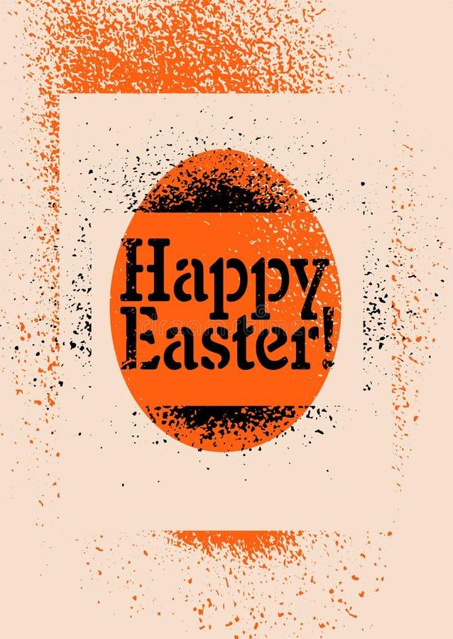 ¡Pascua feliz! Tarjeta de felicitación tipográfica de Pascua del grunge del estilo del arte de la calle de la plantilla Ilustraci stock de ilustración