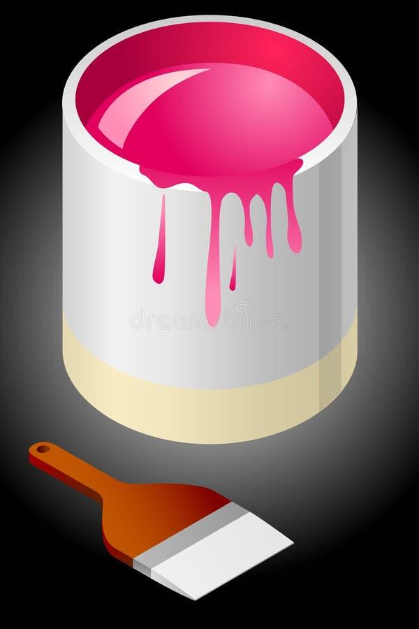 ¡Pinte el cepillo del envase y de pintura! ilustración del vector
