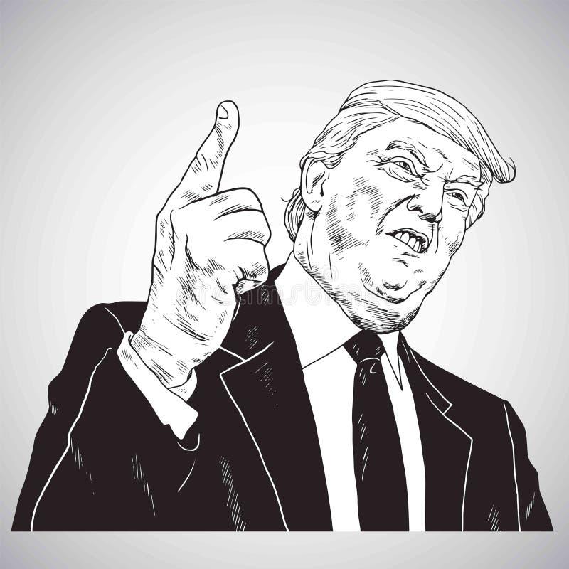 ¡Presidente Donald Trump, usted ` con referencia a encendido! Vector del dibujo del ejemplo del vector 31 de octubre de 2017 stock de ilustración