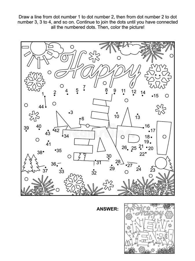 ¡Punto-a-punto y página del colorante - Feliz Año Nuevo! saludo stock de ilustración