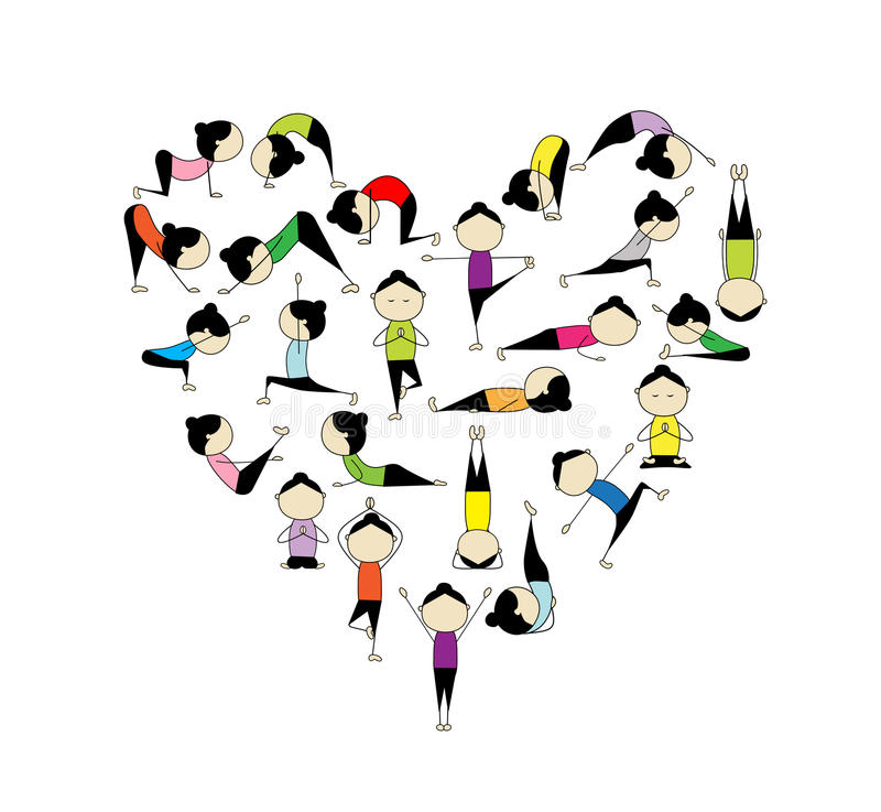¡Quiero yoga! Dimensión de una variable del corazón para su diseño ilustración del vector