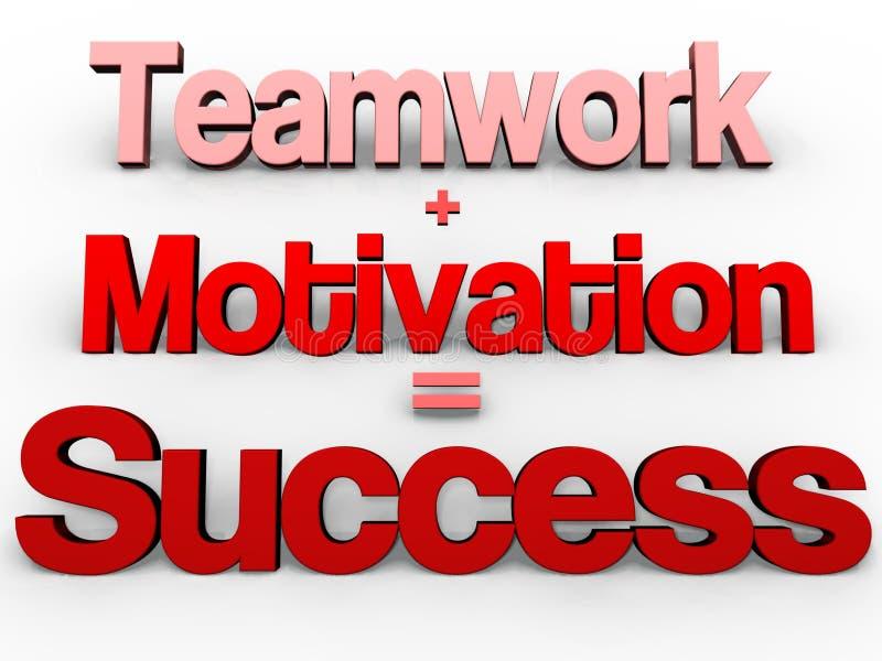 ¡Trabajo en equipo + motivación = éxito! ilustración del vector