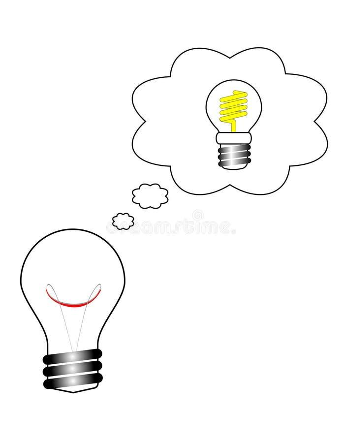 ¡Una idea brillante - conserve la energía! ilustración del vector