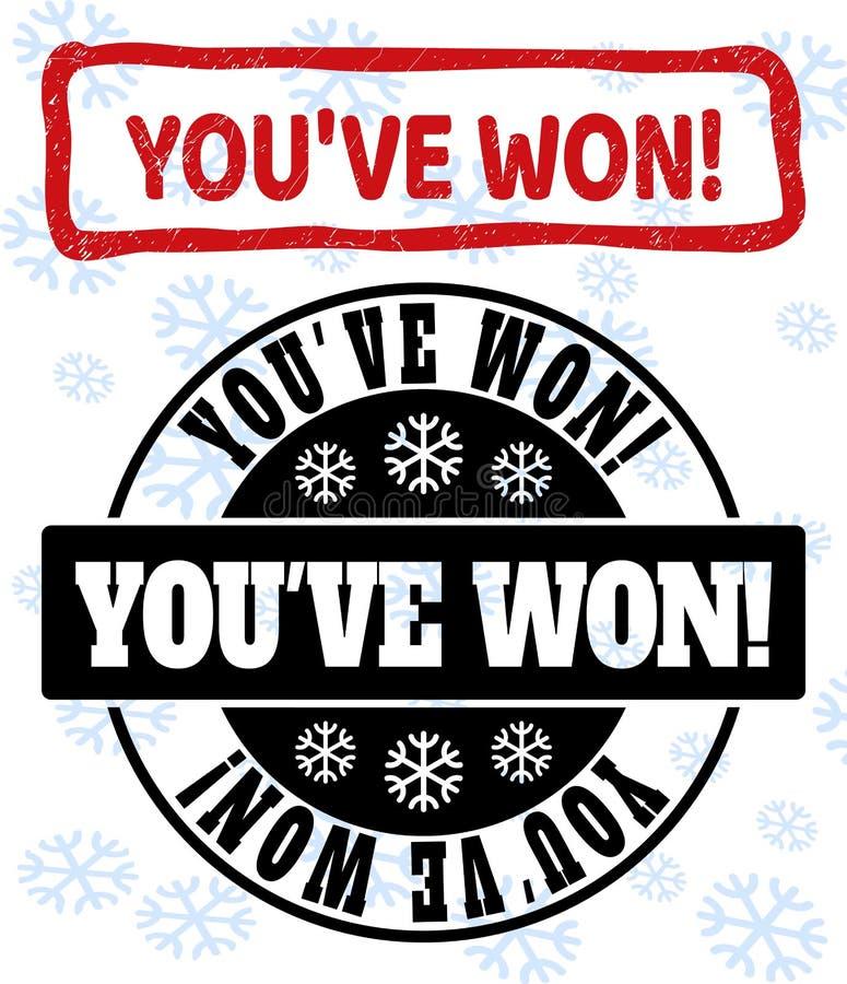 ¡Usted ha ganado! Grunge y sellos limpios del sello para la Navidad libre illustration