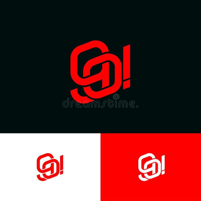 ¡VAYA! monograma Letras de G y de O Líneas emblema del límite Opci?n monocrom?tica stock de ilustración