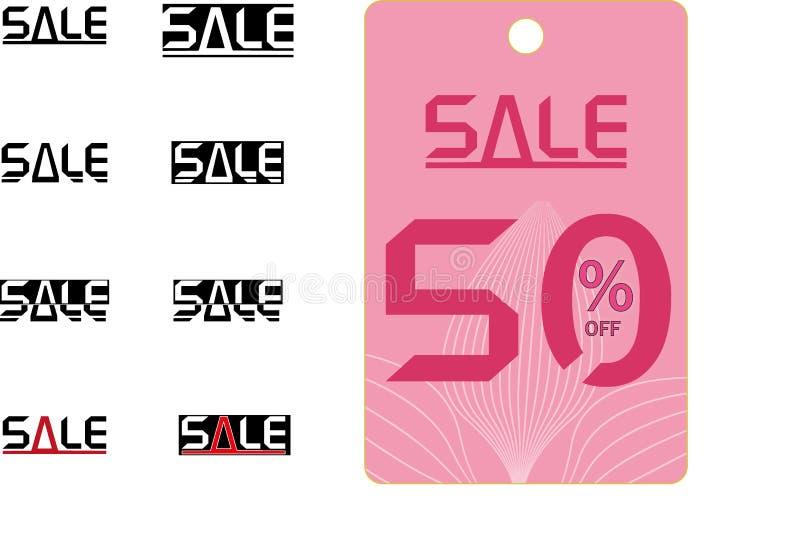 ¡Venta, descuento del 50%! Un ejemplo genérico de la reducción de precio stock de ilustración