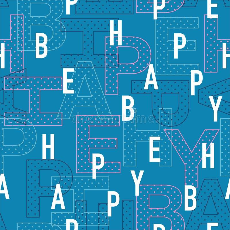 «БЫТЬ СЧАСТЛИВЫМИ» формулировками в шрифте игры typo смешивание в много картина вектора слоя безшовная, дизайн для моды, сети, об бесплатная иллюстрация