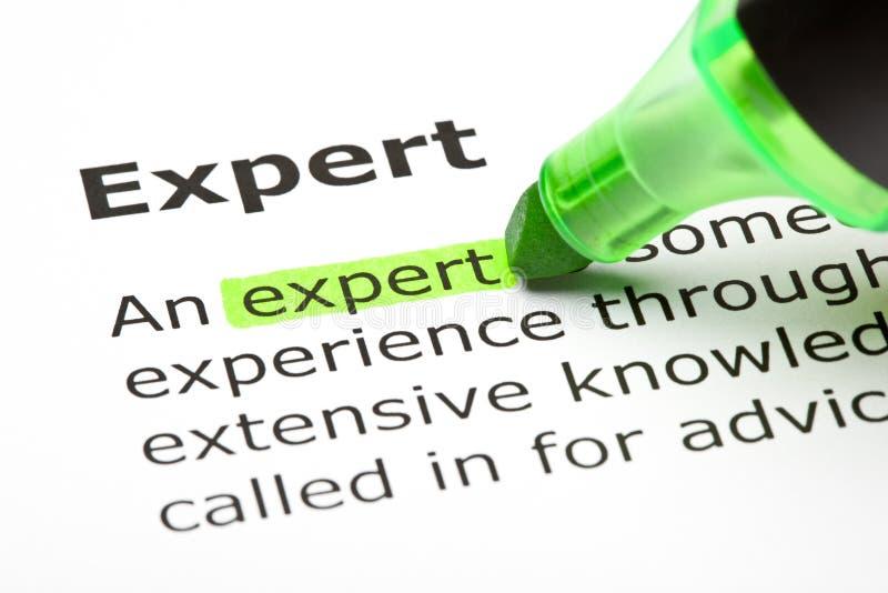 «Expert» mis en valeur en vert images stock