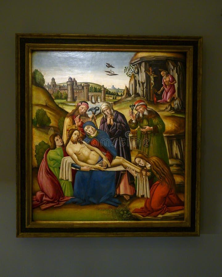 «biadolenie nad Chrystus «Toskańskim malarzem w Pinacota Ambrosiana Ambrozjański galeria sztuki w Mediolan, Włochy fotografia stock