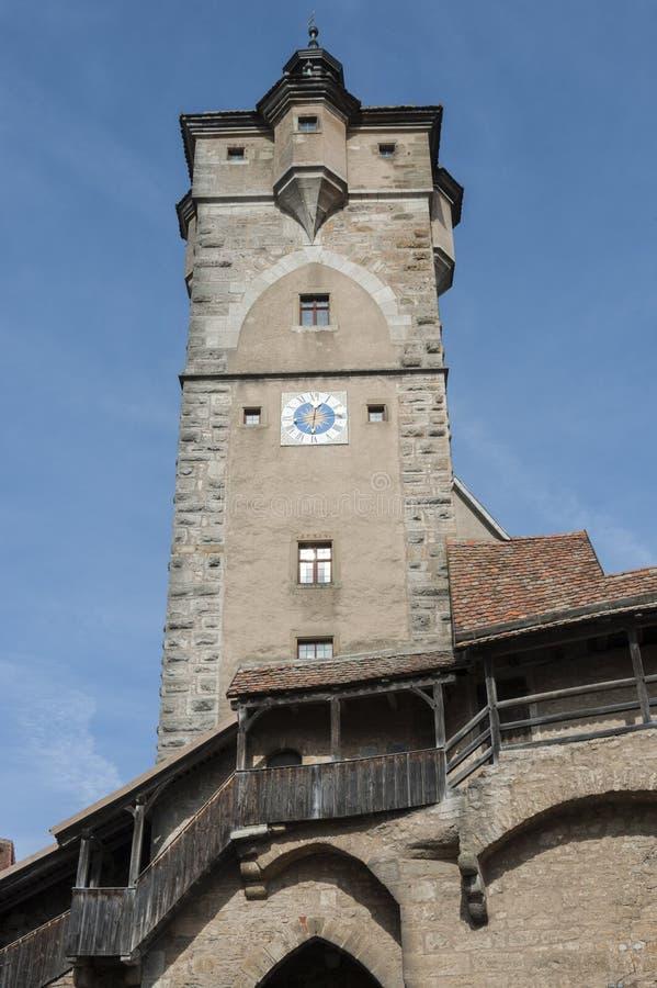 «Klingen «grodzka brama w średniowiecznym grodzkim Rothenburg ob dera Tauber, jeden piękne wioski w Europa, Niemcy obraz stock