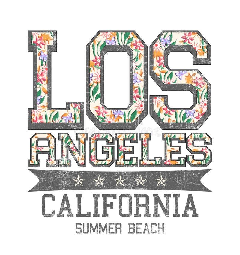 «Los Angeles, Kalifornia, lato plaż typografia, trójnik koszula druk royalty ilustracja