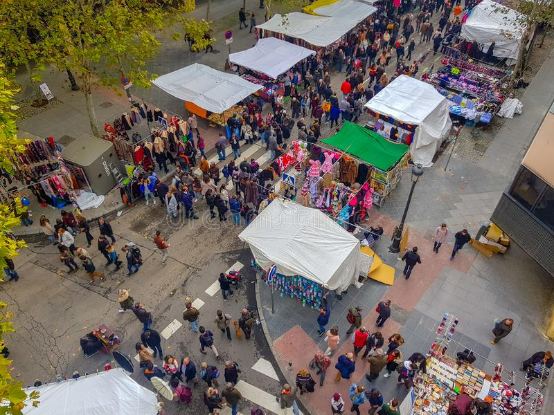 «Madrid,Spain»; 11-11-2018: Top view of the Madrid´s Rastro with stalls and people watching stock image