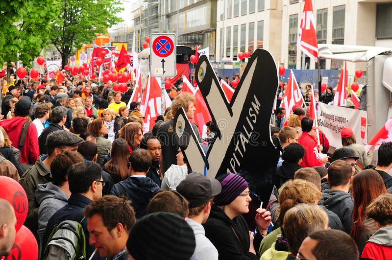 «More labour protection, higher salary, more pension» is the demand of the demonstrators in Zürich stock photography