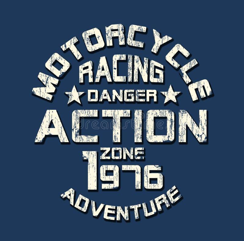 «motocykl, ściga się «typografię, sportowe trójnik koszula grafika royalty ilustracja