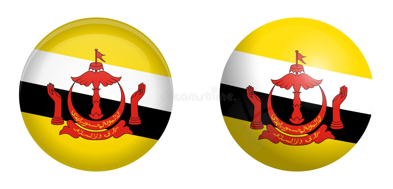 «naród Brunei dom pokój flaga pod 3d kopuły guzikiem i na glansowanej sferze, piłce/ royalty ilustracja
