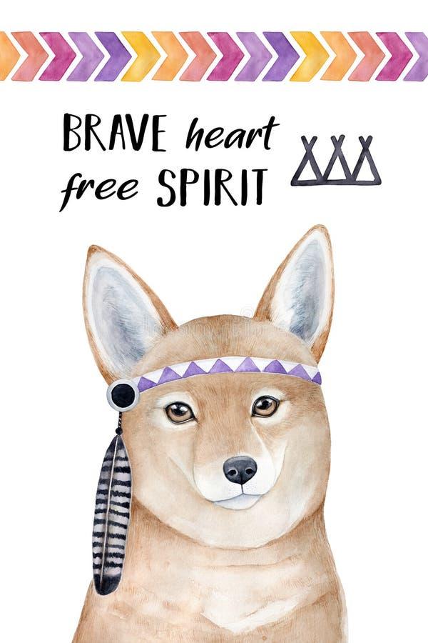 «Odważny serce, Bezpłatnego ducha «plakatowy projekt z pięknym zwrotem, dingo psi portret, rodowity amerykanin piórkowa kapitałka royalty ilustracja