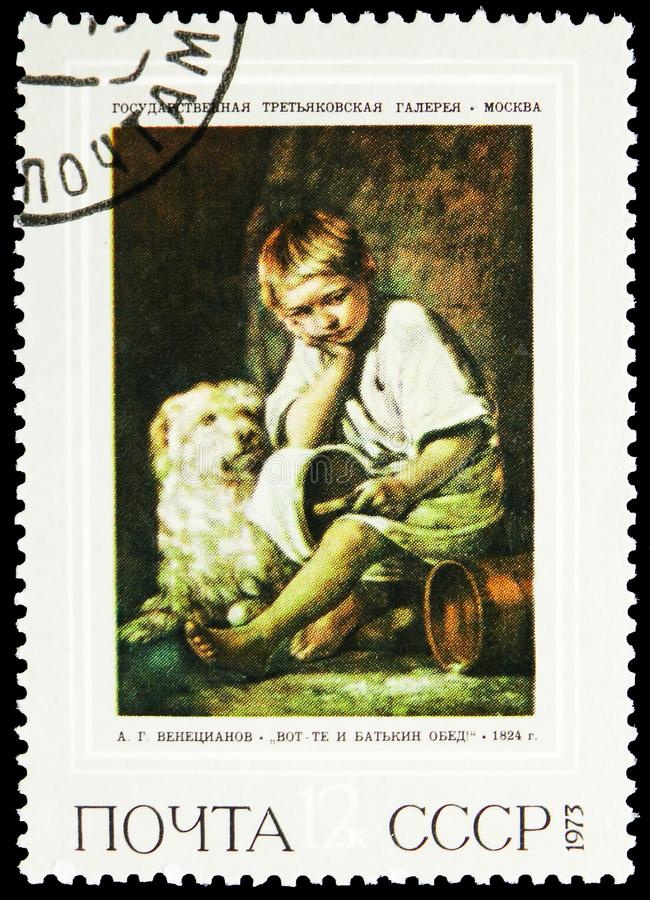 «Oh! Ojca gość restauracji! «1824, A g Venetsianov 1780-1847, Rosyjski obrazu seria około 1973, fotografia stock