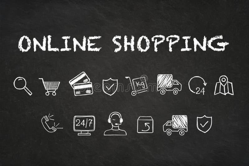 «Online zakupy «tekst i ikony na kredowej deski tle royalty ilustracja