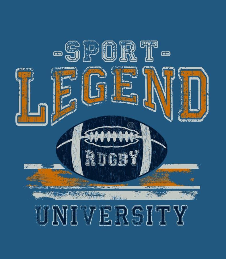«sport, legenda, uniwersytecka «typografia, sportowe trójnik koszula grafika ilustracja wektor