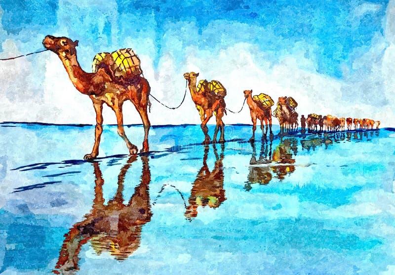 «statki pustynny « miraże Malować mokrą akwarelę na papierze Naiwna sztuka Rysunkowa akwarela na papierze ilustracji
