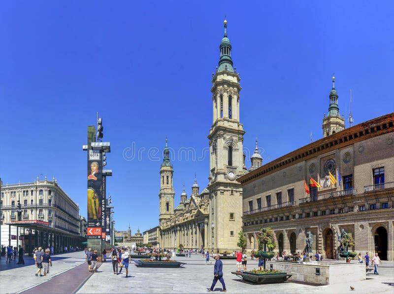¬Å «Pilar ¬Å 'ââ квадрата 'â⠫, Сарагоса, Испания стоковое фото
