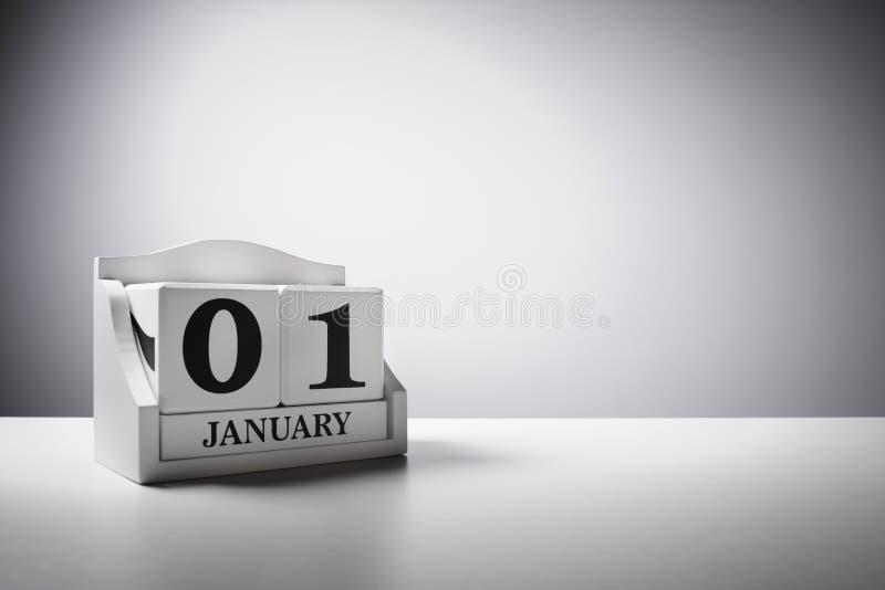 1° gennaio concetto del fondo del calendario per il nuovo anno fotografia stock libera da diritti