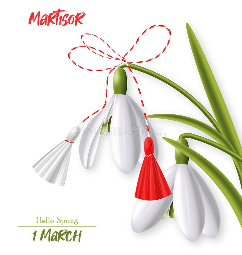 1° marzo, colore realistico, rosso e bianco di martisor, di bucaneve e di martisor, ciao molla illustrazione di stock