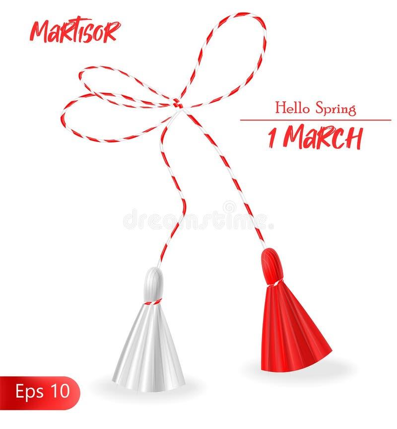 1° marzo, martisor, martisor realistico, ciao molla illustrazione di stock