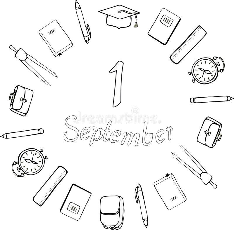 1° settembre marchio Rebecca 36 Rifornimenti di scuola, cappuccio accademico quadrato, sveglie, cartelle e cartelle intorno al in royalty illustrazione gratis