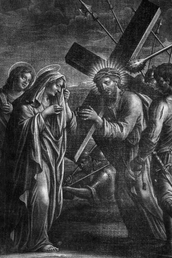 4° stazione della Croce Gesù incontra sua madre, Chiesa di tutti i santi a Blato, Croazia immagini stock libere da diritti