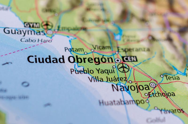 ³ n de Ciudad Obregà en mapa foto de archivo