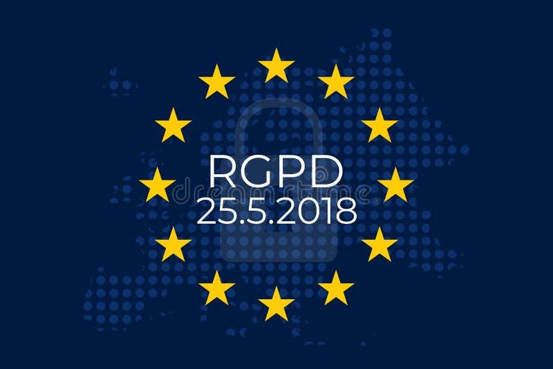³ n de Datos RGPD do EL Reglamento Geral de Proteccià ilustração royalty free