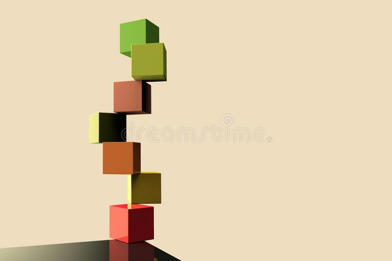 The concept of equilibrium. ·d Rendering of color cubes representing the concept of equilibrium stock illustration