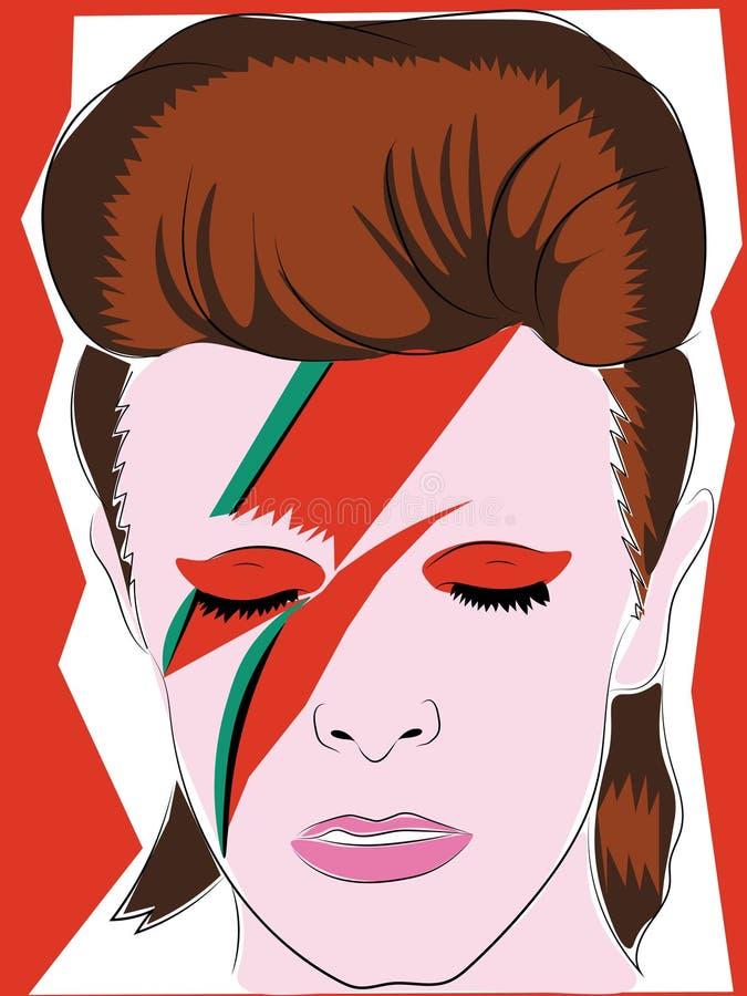 1º de junho de 2018 Entregue a ilustração colorida tirada de David Bowie, uso editorial ilustração royalty free