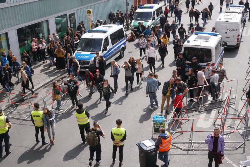 1º de maio, o dia dos trabalhadores internacionais em Berlim imagens de stock royalty free