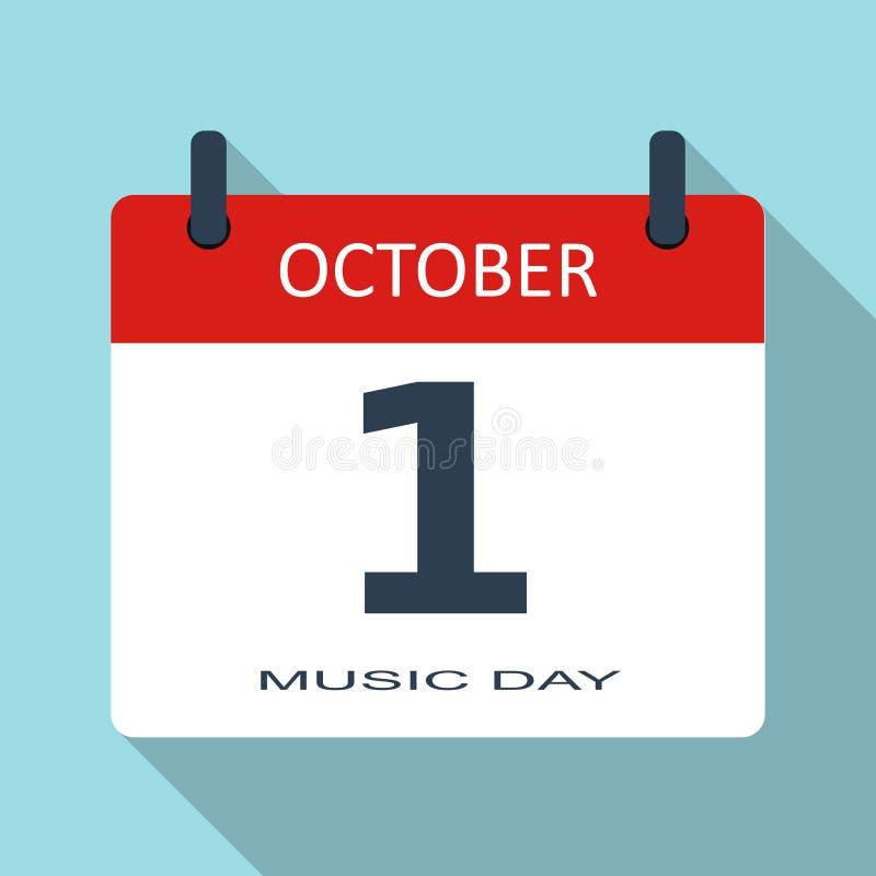 1º de outubro Dia da música Ícone liso do calendário diário do vetor Data e hora, mês feriado Simples moderno ilustração royalty free
