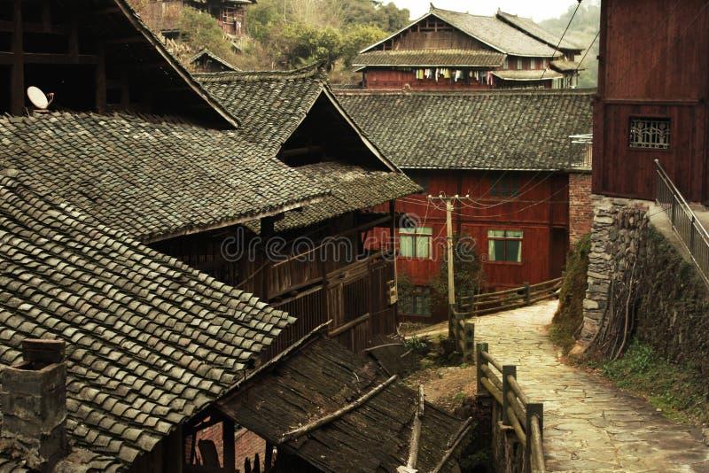¼ rural de madeira ŒPhotography do villageï de ŒChinese do ¼ do houseï fotos de stock