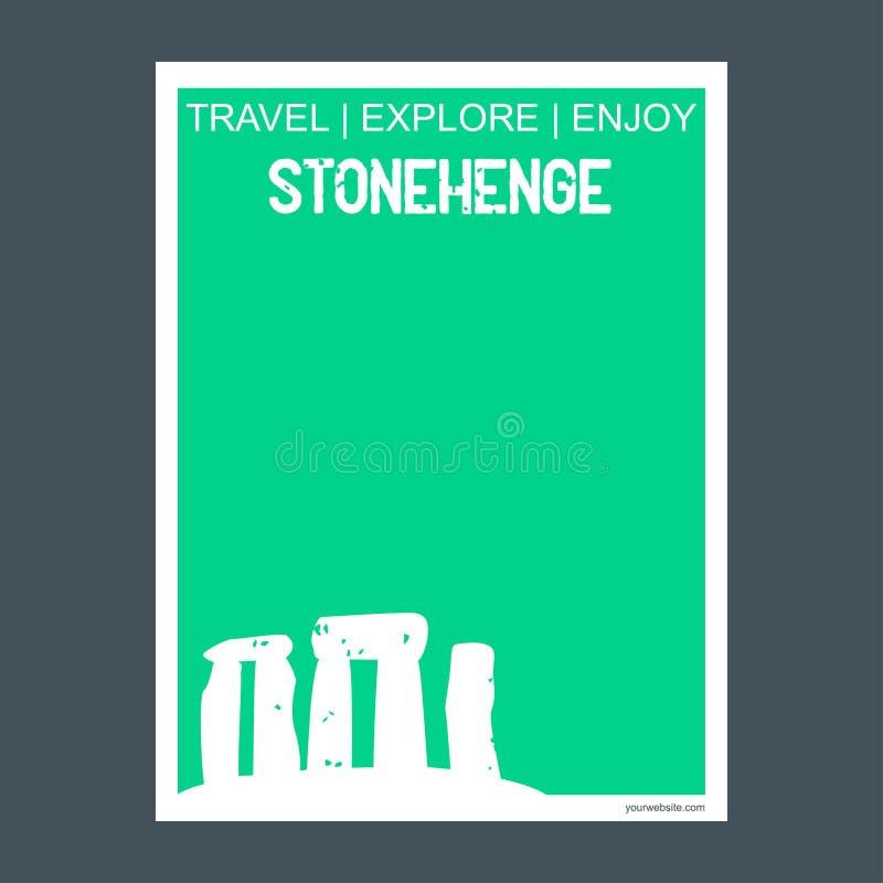 ½ del ¬Å del 'de Stonehenge Wiltshireââ, folleto de la señal del monumento de Inglaterra stock de ilustración