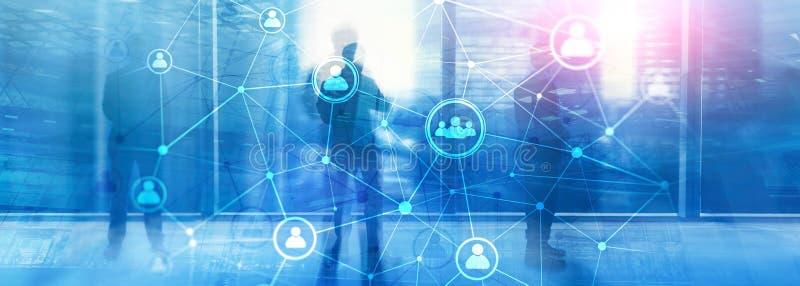 ¾ heure du ¾ à de structureà de réseau de personnes de double exposition - gestion de ressources humaines et concept de recruteme photo stock
