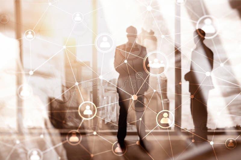 ¾ heure du ¾ à de structureà de réseau de personnes de double exposition - gestion de ressources humaines et concept de recruteme illustration stock