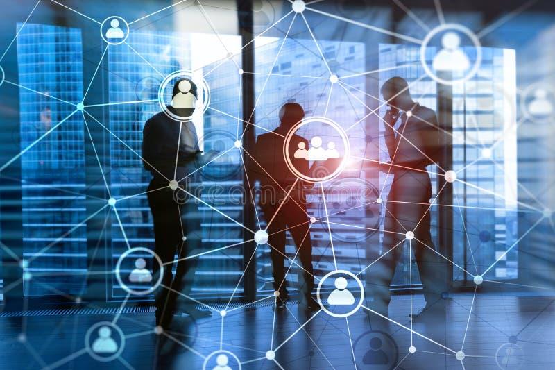 ¾ hora do ¾ à do structureà da rede dos povos da exposição dobro - gestão de recursos humanos e conceito do recrutamento ilustração stock