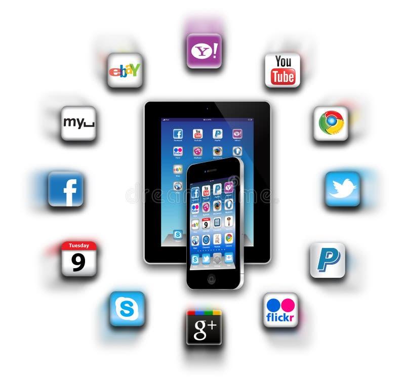 ¿Cuál es apps está en su red móvil hoy? stock de ilustración