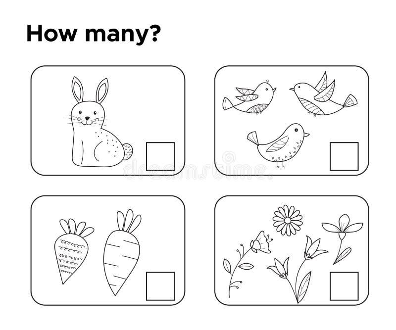 ¿Cuántos objetos? Tarea para los niños preescolares stock de ilustración