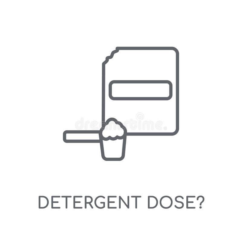¿Dosis detergente? icono linear ¿Dosis detergente del esquema moderno? logotipo ilustración del vector