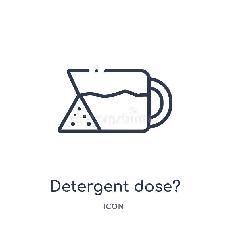 ¿Dosis detergente linear? icono de la colección del esquema de la higiene ¿Línea fina dosis detergente? icono aislado en el fondo ilustración del vector